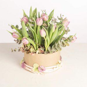 Caja de Tulipanes rojos o blancos