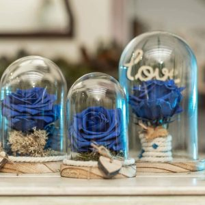 Rosa azul preservada. Urna cristal y madera