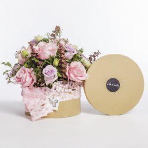 Caja de rosas rosadas Anemona